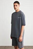 GRIMELANGE COLOMBIA Erkek Düz Gri Şort T-shirt Eşofman Takımı