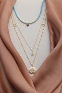 Miavi Silver Kadın Sarı Altın Kaplama Tasarım Çoklu Kolye