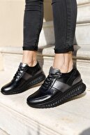 Deripabuc Hakiki Deri Siyah Kadın Deri Sneaker Dp15-26163
