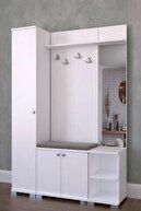 MONTANA Aynalı 3 Kapaklı Portmanto Takımı, Askılık, Vestiyer Beyaz