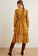 adL Kadın Safran Büzgülü Dantel Elbise
