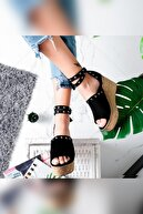Limoya Phoebe Siyah Süet Zımbalı Dolgu Topuklu Ayakkabı