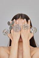 ZeyDor Accessories Zeydor Antik Gümüş Kaplama Çiçek Tasarım Yüzük
