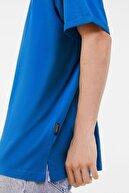 Bershka Erkek Mavi Long Fit T-shirt