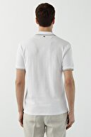 Network Erkek Slim Fit Beyaz Polo Yaka Dokulu T-shirt 1078402