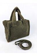 çantabags Kadın Haki Yeşil Sholder Bags Omuz Askılı Pelüş Çanta