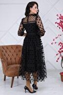 Matik Abiyem Puantiyeli Tül Kemerli Tasarım Elbise