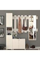 MONTANA Aynalı Çekmeceli 4 Kapaklı Portmanto Takımı Askılık Vestiyer Beyaz