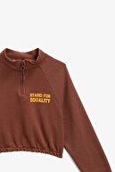 Koton Kadın Kahverengi Pamuklu Fermuar Detaylı Crop Sweatshirt