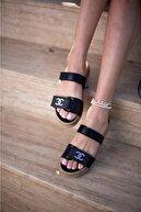 Espardile Kadın Siyah Taşlı Sandalet