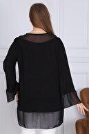 1fazlası Kol Ve Yaka Şifon Detaylı Siyah Viskon Tunik Bluz