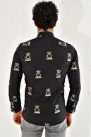 Efor G 1439 Slim Fit Siyah Spor Gömlek