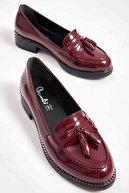 Bambi Bordo Kadın Loafer Ayakkabı M07782340