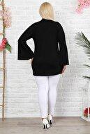 1fazlası Kadın Büyük Beden Siyah Ispanyol Kol Puantiye Desenli Bluz