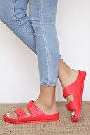 Pembe Potin Kadın Kırmızı Sandalet