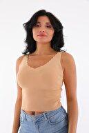 Devinka Kadın Bisküvi Renk Merdiven Yaka Triko Bluz