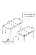 Canisa Concept Rio Serisi Mdf Siyah Mermer Desenli Açılabilir Mutfak Masa Takımı + 6 Füme Sandalye