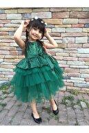 MiniBal Yeşil Pul Payet Tütülü Kız Çocuk Parti Elbisesi