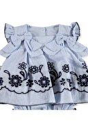 Bebemania Kız Bebek Mavi Sarmaşık Gömlek Body