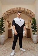 FAST EFFECT WEAR Siyah Geometrik Detaylı Oversize T-shirt