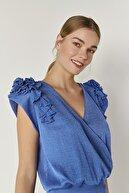Join Us Omzu Fırfır Detaylı Triko Bluz-mavi