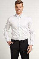 Network Erkek Slim Fit Beyaz Modern Yaka Gömlek 1078131