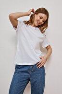LEKKER Kadın Beyaz Vatkalı Bisiklet Yaka Pamuklu Yumuşak Dokulu Duble Kol Basic T-shirt