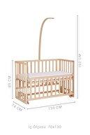 Babycom Anne Yanı Doğal Boyasız Ahşap Kademeli Beşik 70x130 + Kahve Yıldızlı Uyku Seti