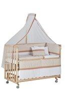 Babycom Anne Yanı Doğal Boyasız Ahşap Kademeli Beşik 70x130 - Tekerlekli + Kahve Zikzak Uyku Seti
