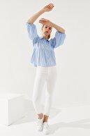 Reyon Kadın Balon Kol Gömlek Mavi