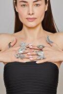 ZeyDor Accessories Zeydor Antik Gümüş Kaplama Sıralı Yaprak Yüzük