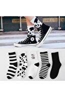 çorapmanya Kadın 5 Çift Siyah Beyaz Inek Desenli Çizgili Tenis Çorabı