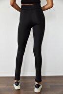 Xena Kadın Siyah Paça Detaylı Yüksek Bel Tayt 1KZK5-11192-02