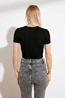 TRENDYOLMİLLA Siyah Kruvaze Örme Bluz TWOSS21BZ0035