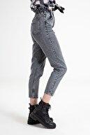 Neomod Beli Lastikli Gri Mom Jeans
