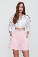 Trend Alaçatı Stili Kadın Pudra Pamuklu Bermuda Şort ALC-X6028