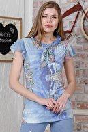 Chiccy Kadın Mavi Dantel Baskılı Yakası Bağlama Detaylı Mendil Kol Astarlı Bluz M10010200BL95510