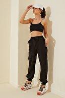 Sun Victoria Kadın Siyah Jogger Iki Iplik Beli Lastikli Eşofman Altı