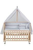 Babycom Anne Yanı Doğal Boyasız Ahşap Kademeli Beşik 70x130 - Tekerlekli + Gri Zikzak Uyku Seti