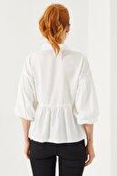 Reyon Kadın Beyaz Balon Kol Gömlek