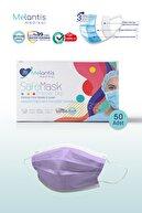 Morven Melantis Medikal Meltblownlu + Tip 2r 3 Katlı Telli Cerrahi Maske 1 Kutu 50 Adet Mor Mor