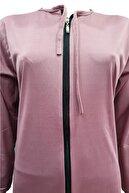 Hazal Namaz Elbisesi Fermuarlı Model Gülkurusu Softjarse Kumaş