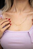 İzla Design Kadın Toplu Zincir Model Rose Kaplama Kolye Izlaslvr00478