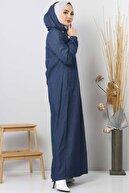 Tesettür Dünyası Arkası Düğme Detaylı Tesettür Kot Elbise Tsd8220 Koyu Mavi