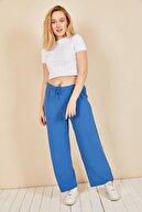 Moda Bu Huban Moda Kadın Indigo Mavi Beli Lastikli Bol Paça Salaş Yazlık Pantolon Aerobin-865829