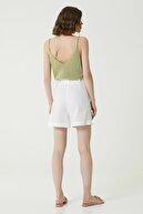 Network Kadın Slim Fit Beyaz Cep Detaylı Şort 1079133