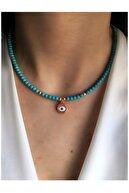 Serpil Jewellery Kadın Rose Rengi Firuze Doğaltaşlı Spor Kolye