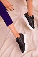Soho Exclusive Siyah-Siyah Yılan Kadın Sneaker 15732
