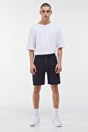Bershka Erkek Siyah Cepli Pamuklu Jogger Bermuda Şort 02733478