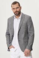 Altınyıldız Classics Erkek Lacivert Slim Fit Dar Kesim Mono Yaka Desenli Casual Ceket